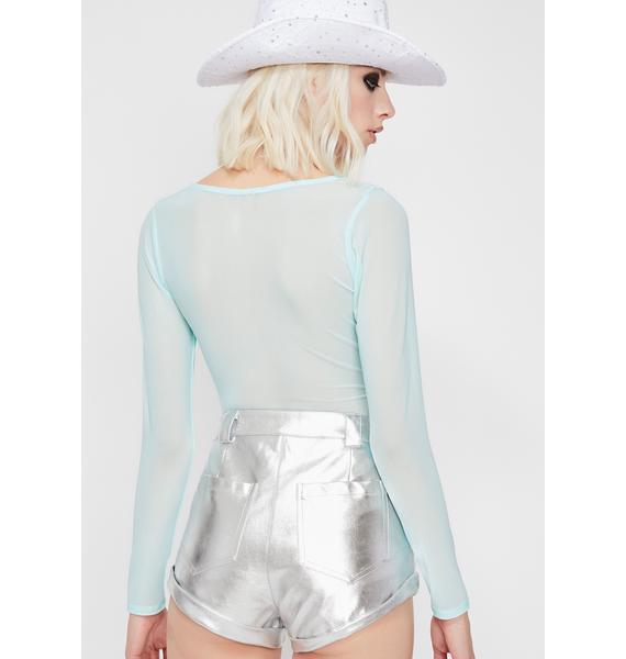 Mint High Vibin' Sheer Bodysuit