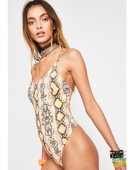 Bhadd Grl Snakeskin Bodysuit