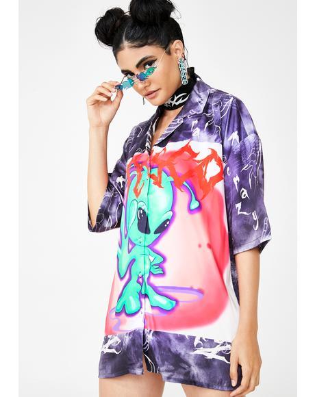 Tie Dye Alien Print Shirt