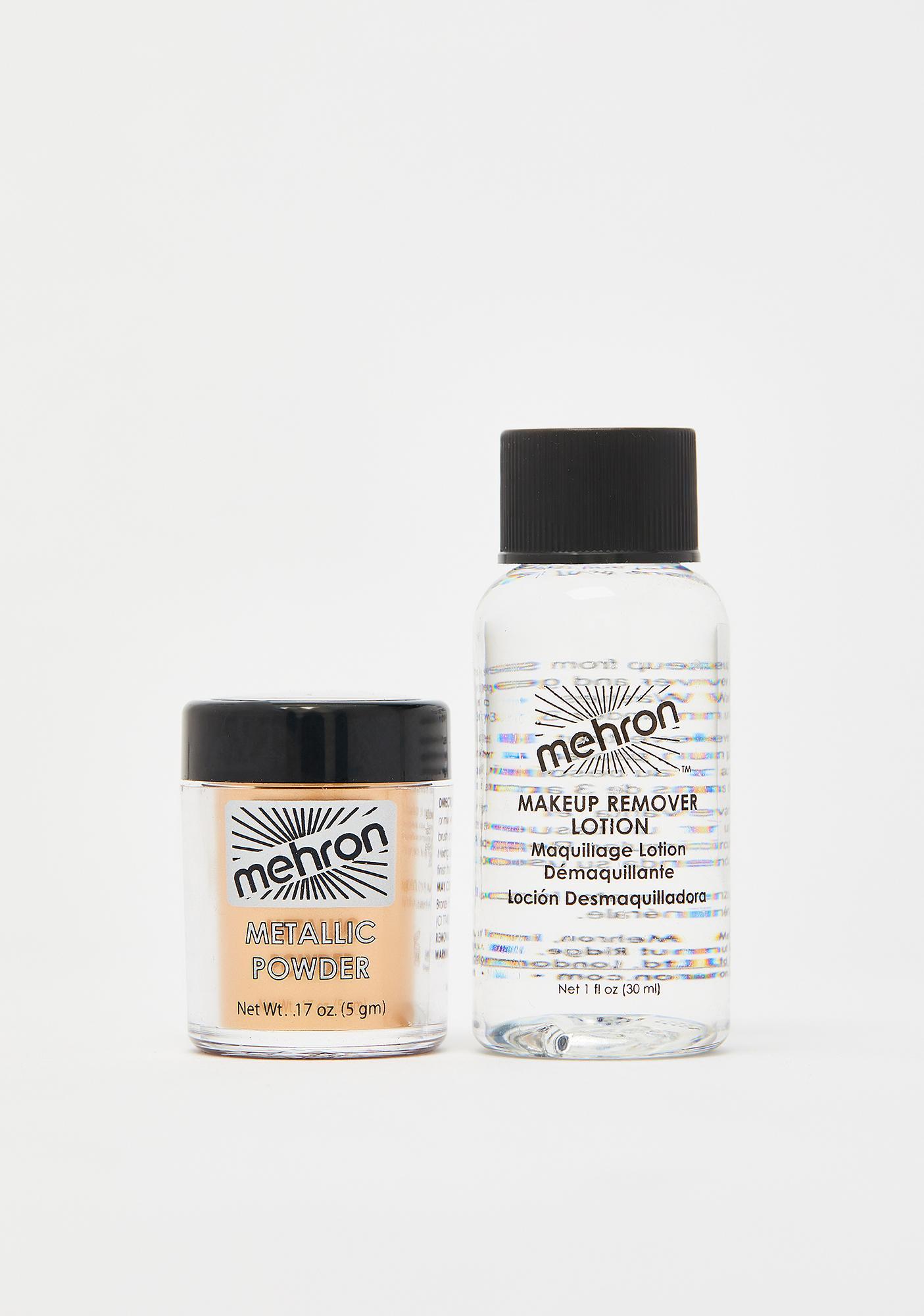 Mehron Gold Metallic Powder With Mixing Liquid