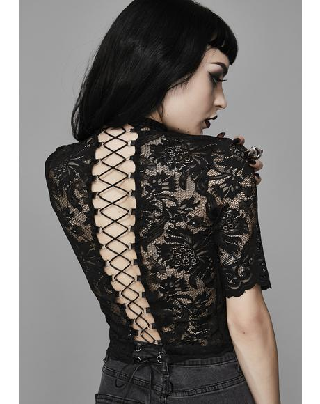 Midnight Ominous Trance Lace Top
