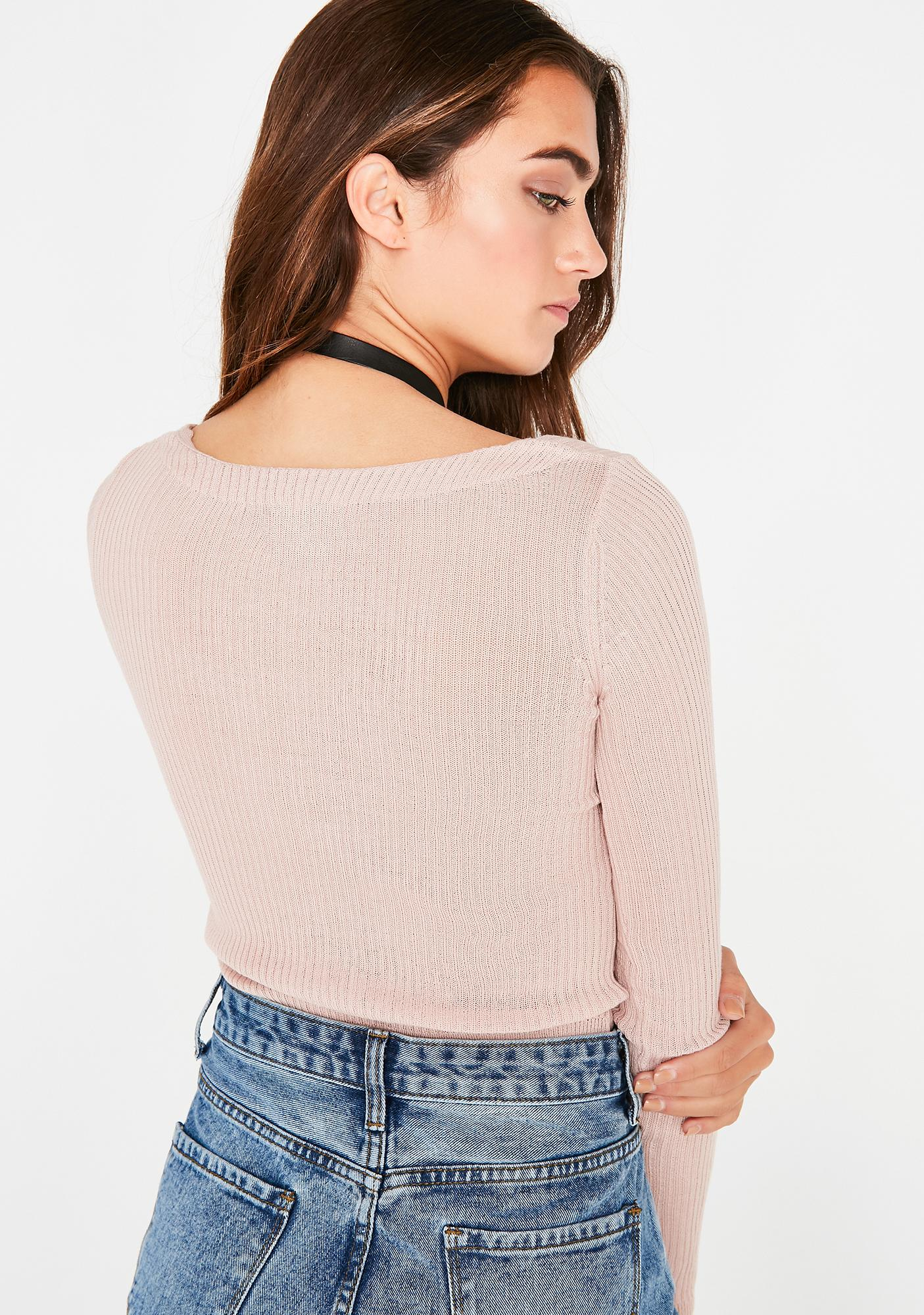 Sweet Hands Tied Ribbed Top