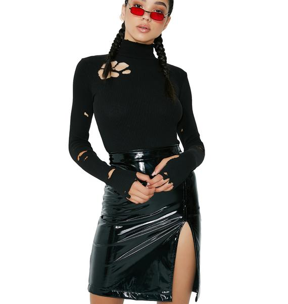 Midnight Neo Vinyl Skirt