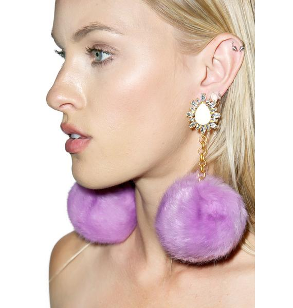 Rock n Rose Purrfect Purple Pom-Pom Earrings
