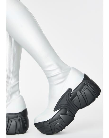 Chrome Digital Army Thigh High Boots