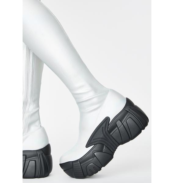 Club Exx Chrome Digital Army Thigh High Boots