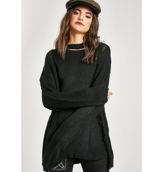 Down For It Distressed Sweater