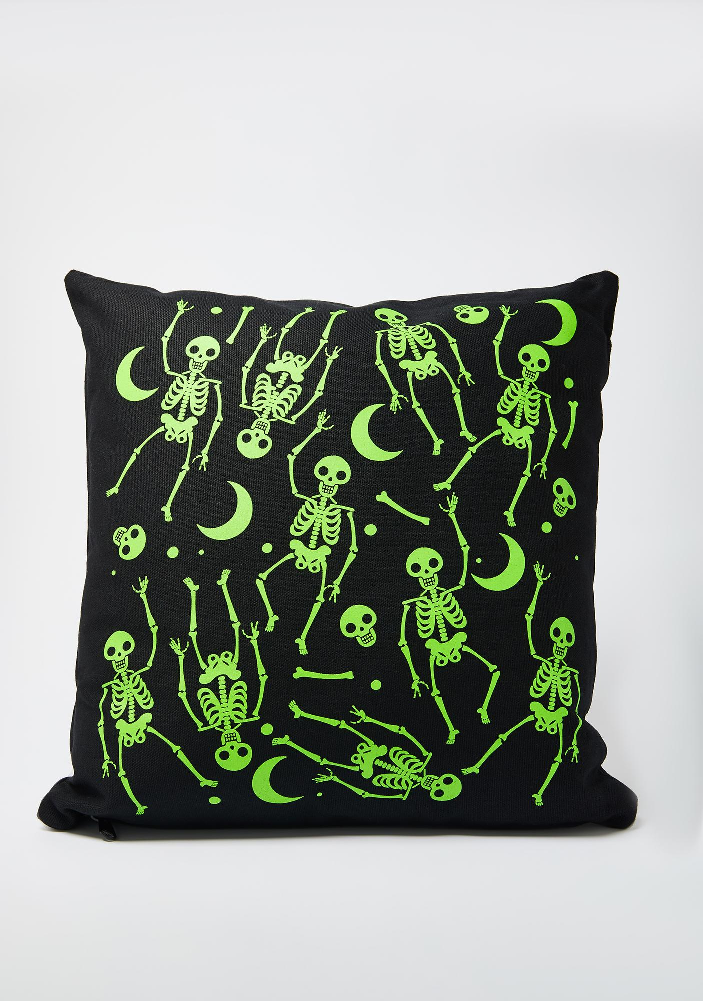 Femfetti Green Skeleton Pattern Pillow