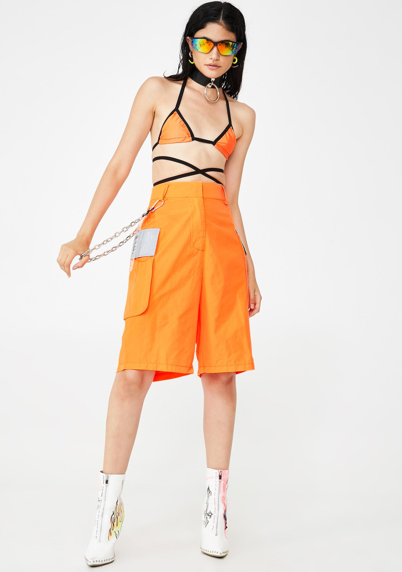 Jaded London Neon Orange Cargo Shorts With Reflective Detail