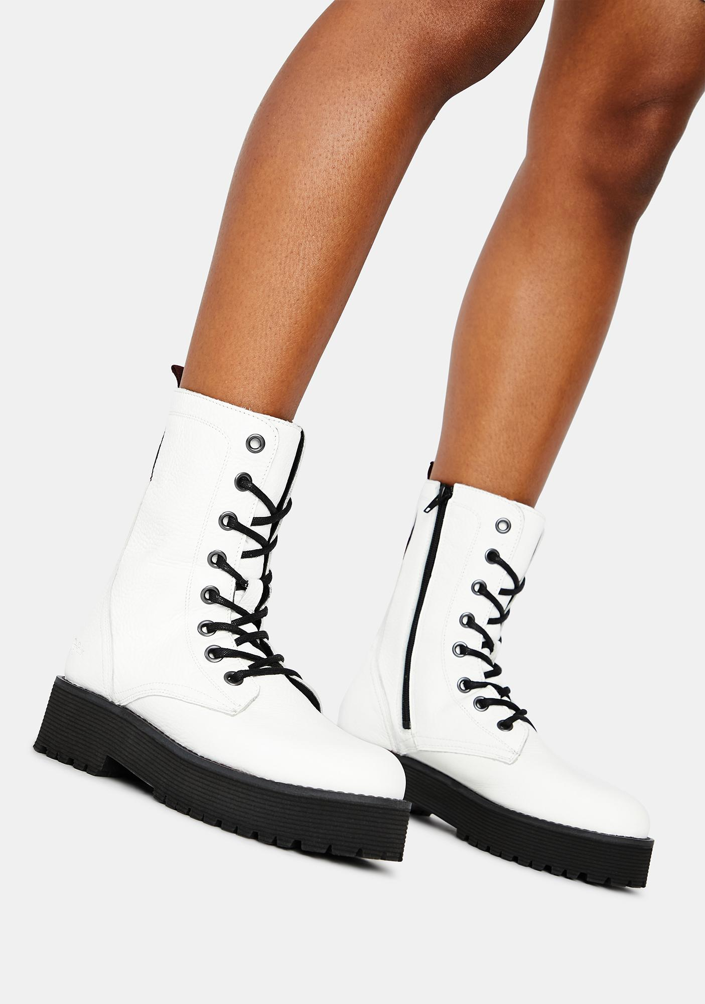 Buffalo White Mac Genuine Leather Boots