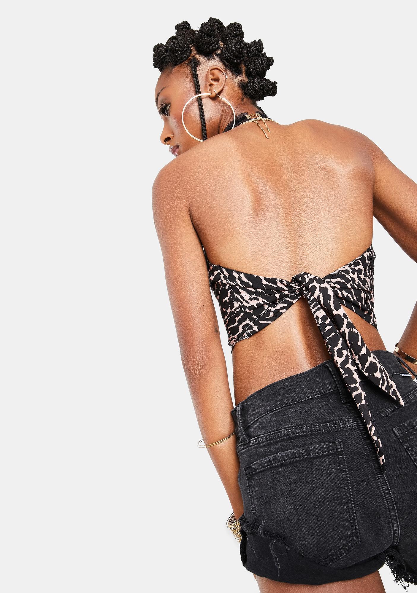 Re Named Mica Leopard Tie Back Halter Top