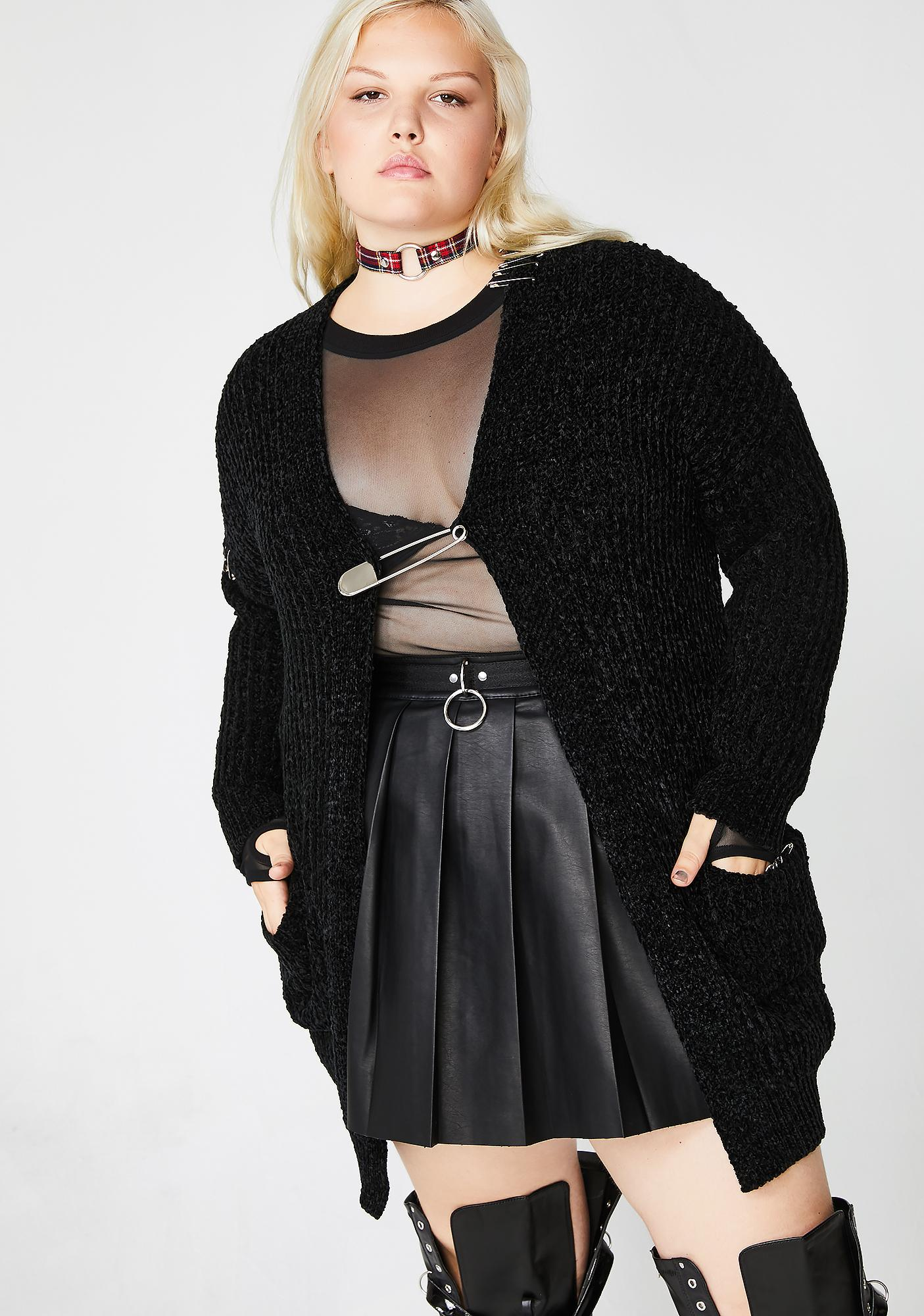 Current Mood Charming Antisocial Climber Safety Pin Cardigan
