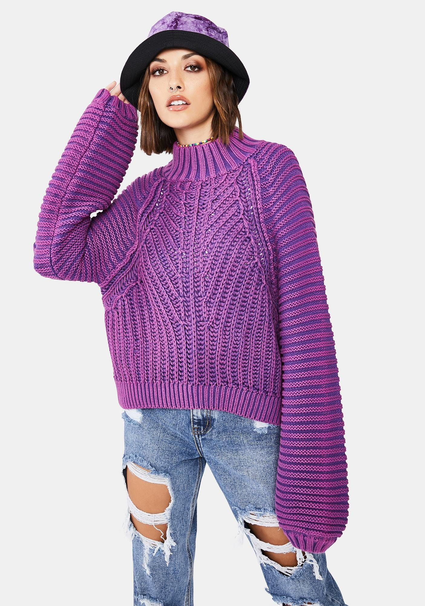 Free People Glowing Orchid Sweetheart Knit Sweater