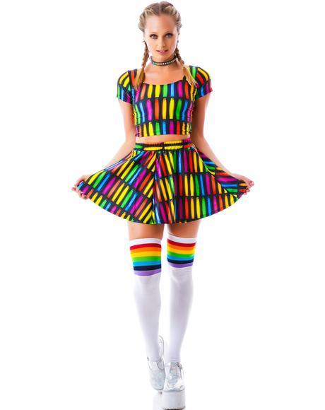 Glowstick Lightshow Skater Skirt