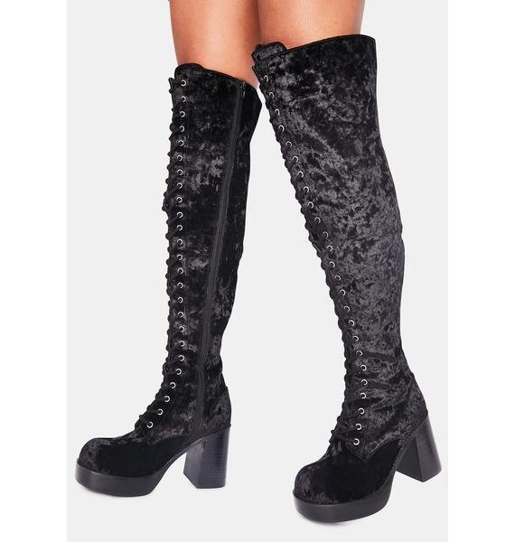 dELiA*s by Dolls Kill Original Sin Velvet Knee High Boots