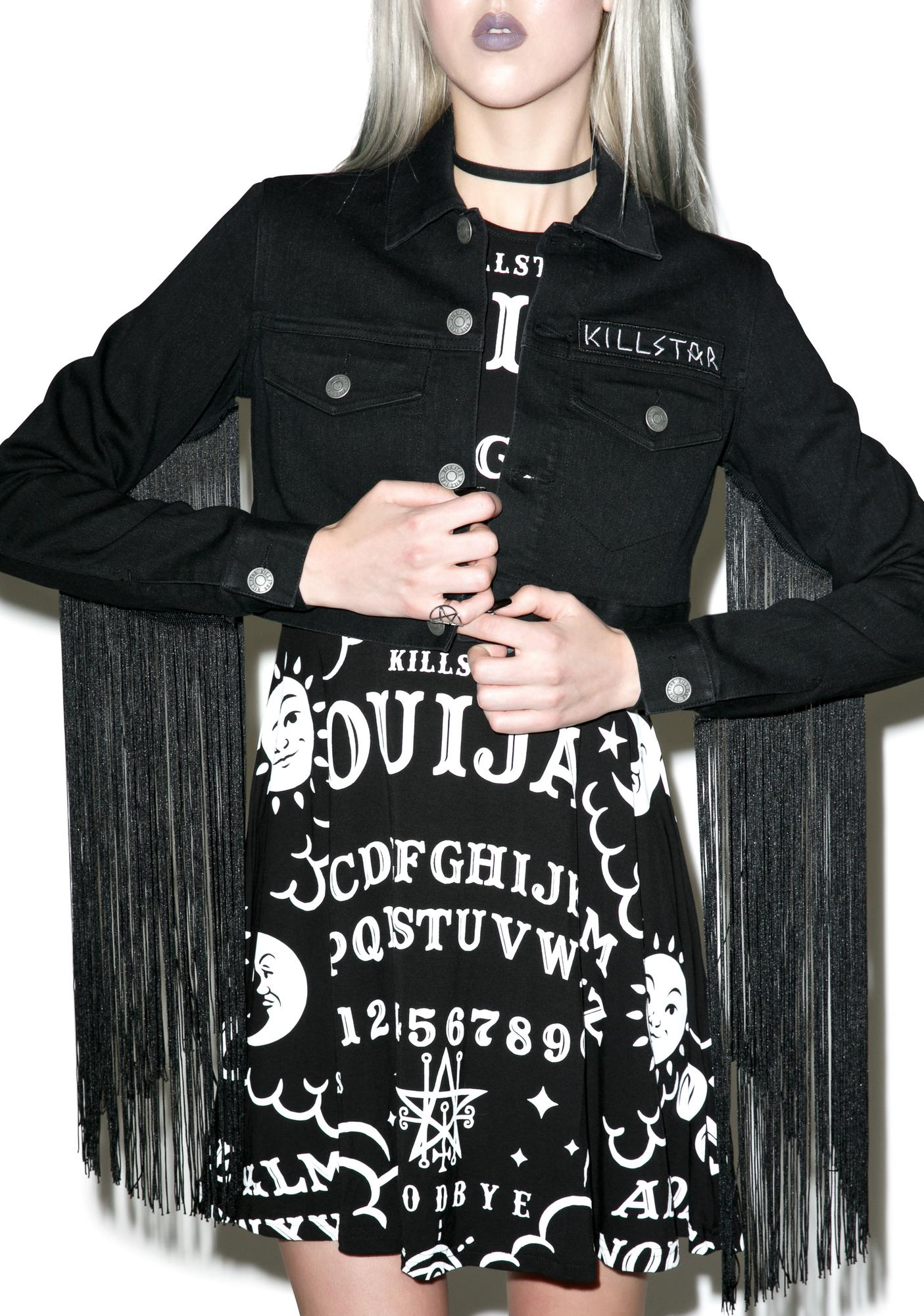 Killstar Fae Fringe Crop Denim Jacket