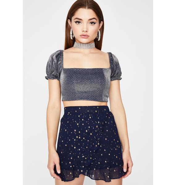 Cosmic Midnight Ruffled Skirt
