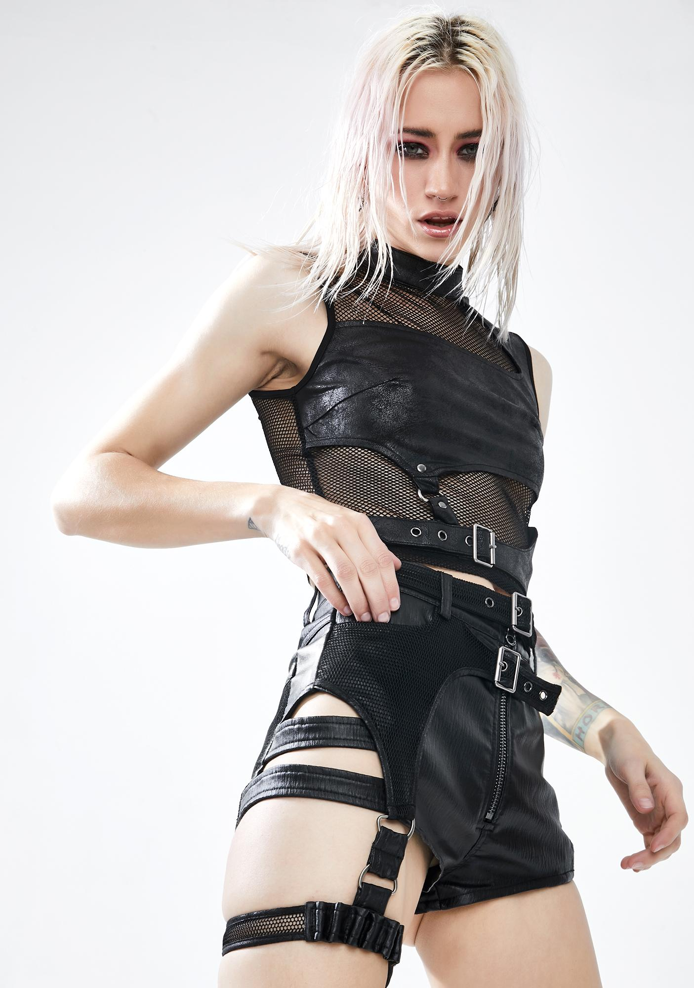 Punk Rave Military Watcher Harness Shorts