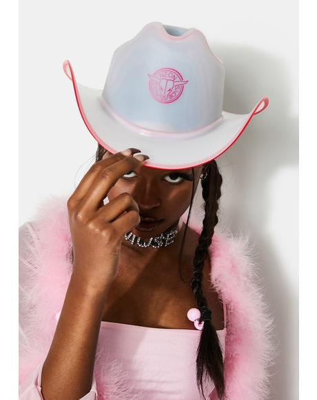 Pink Trim Light Up Neon Cowboy Hat