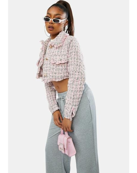 Be A Star Cropped Tweed Jacket
