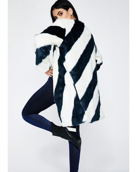 Teal Stripe Chloe Coat