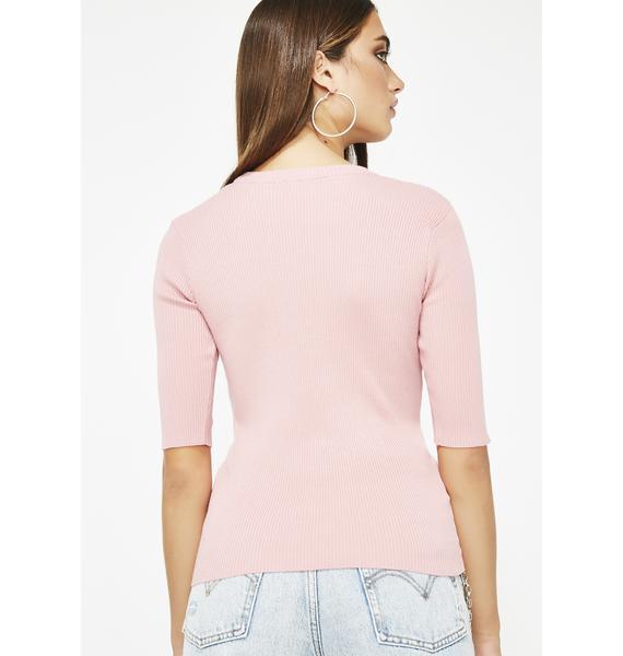 Blush Thinkin Bout You O-Ring Sweater