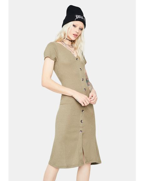 Olive Take Care Button Up Midi Dress