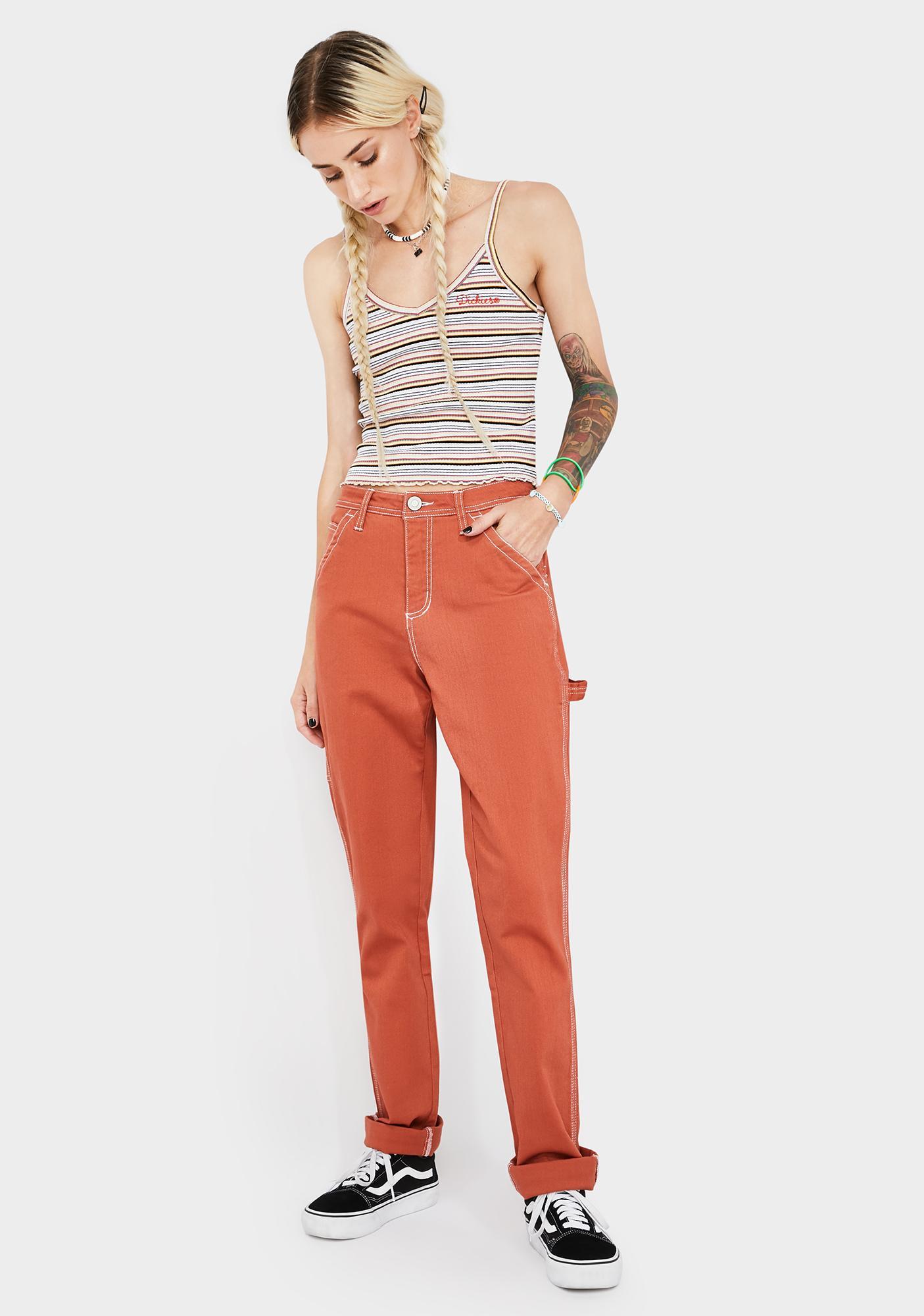 Dickies Girl Auburn Slim Rolled Hem Carpenter Pants