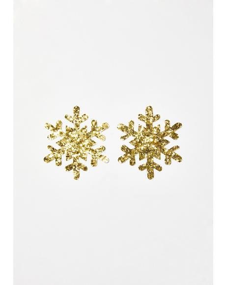 Gold Fairy Dust Snowflake Pasties