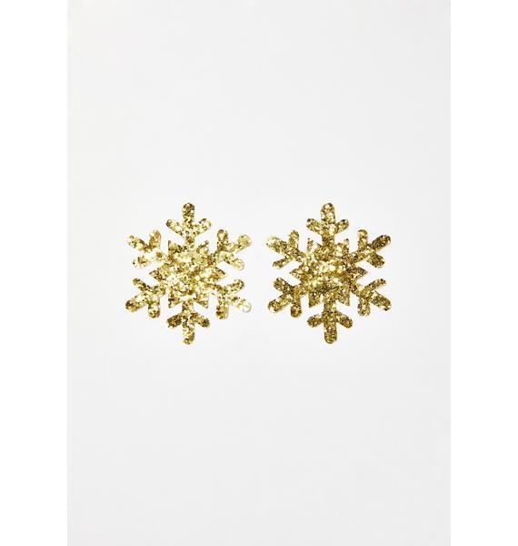 Neva Nude Gold Fairy Dust Snowflake Pasties