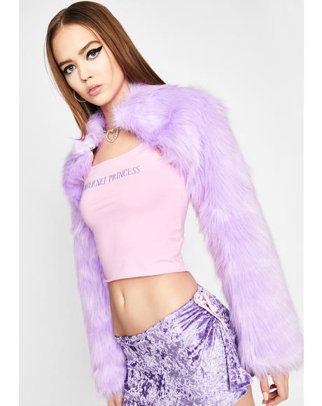 Fairy Boss Babe Faux Fur Shrug