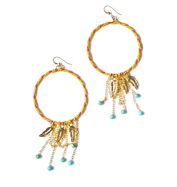 Ettika Feather Charm Blonde Leather Hoop Earrings