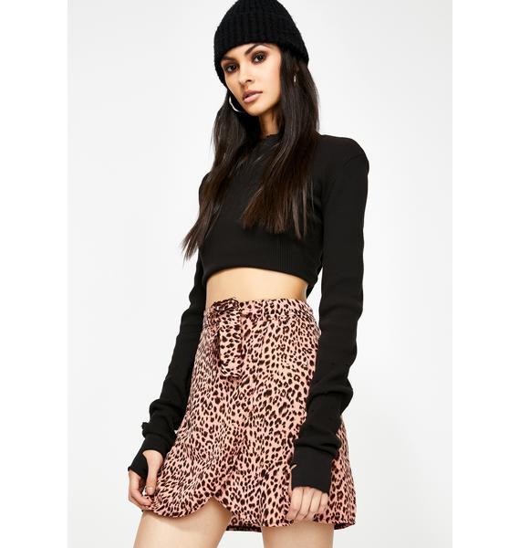 Momokrom Leopard Print Wrap Skirt
