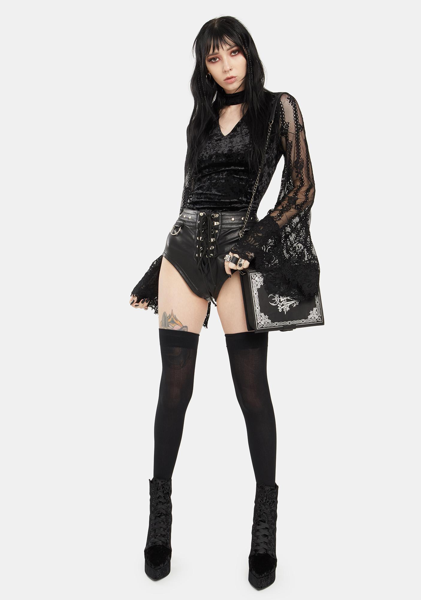 Jawbreaker Velvet Top With Lace Bell Sleeves