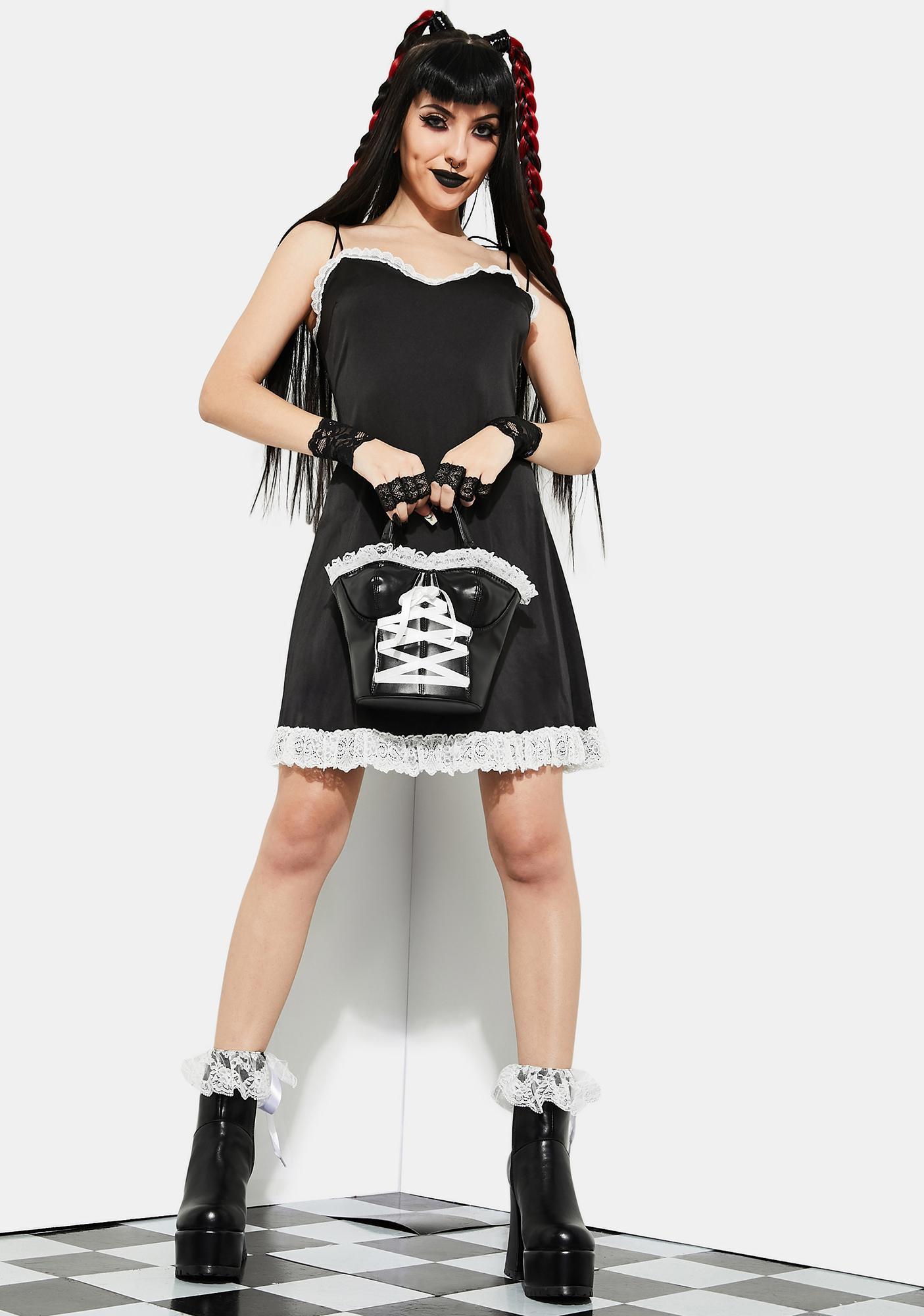 Current Mood Hot As The Devil Satin Slip Dress
