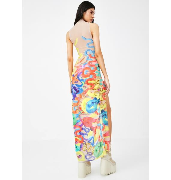Jaded London Climbing Snakes High Neck Maxi Dress