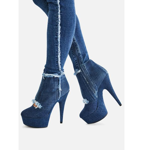 Pleaser Come Get It Denim Thigh High Boots