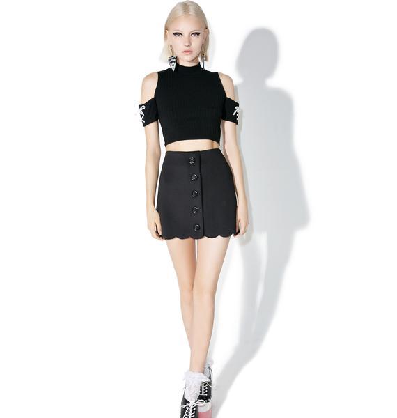 one spo Scalloped Trapezoid Skirt