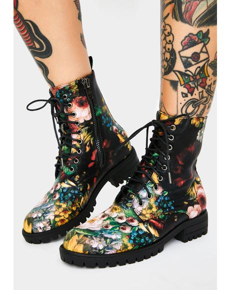 Garden Of Chaos Combat Boots