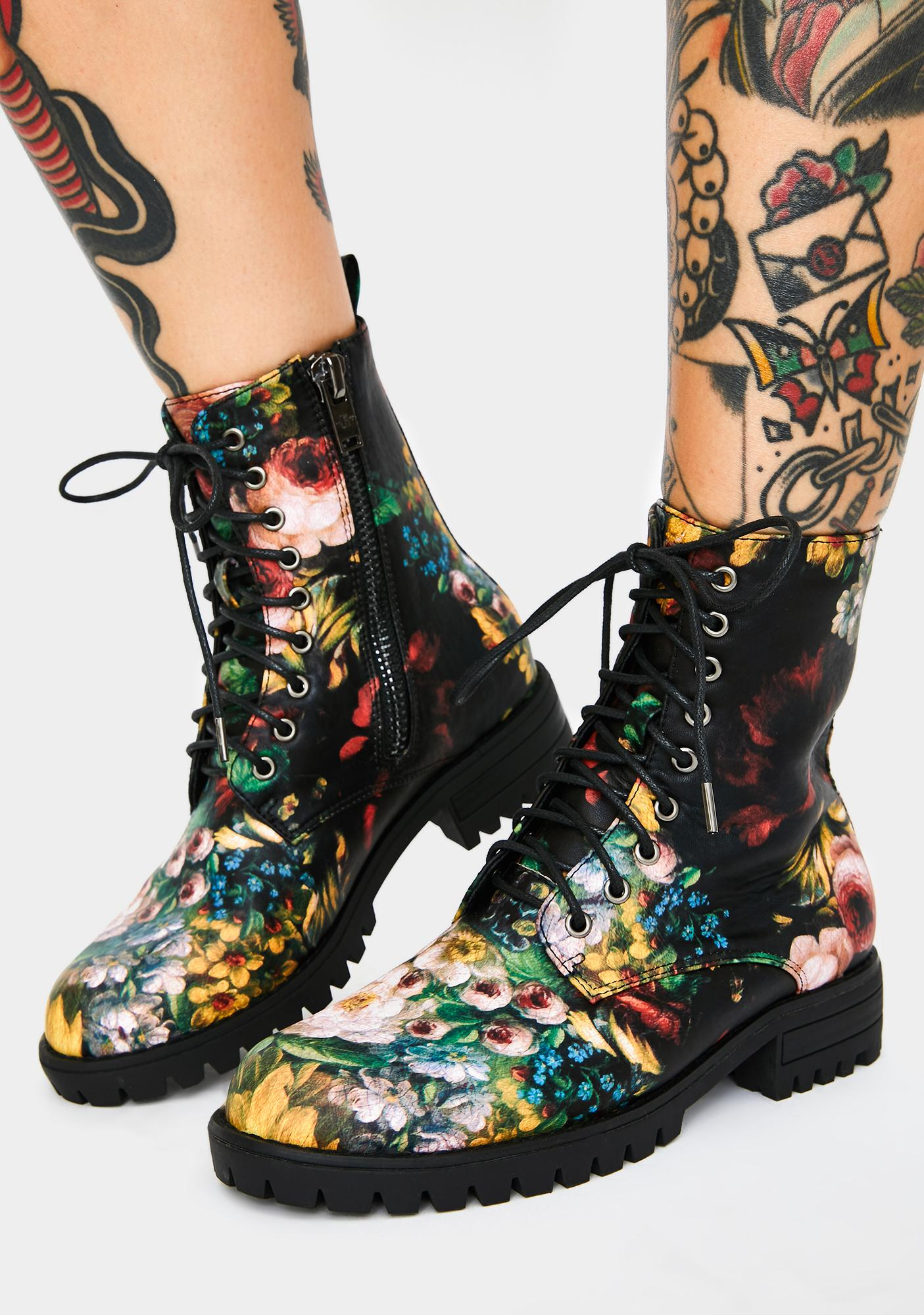 Current Mood Garden Of Chaos Combat Boots