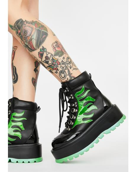 Green Helios Flame Combat Boots