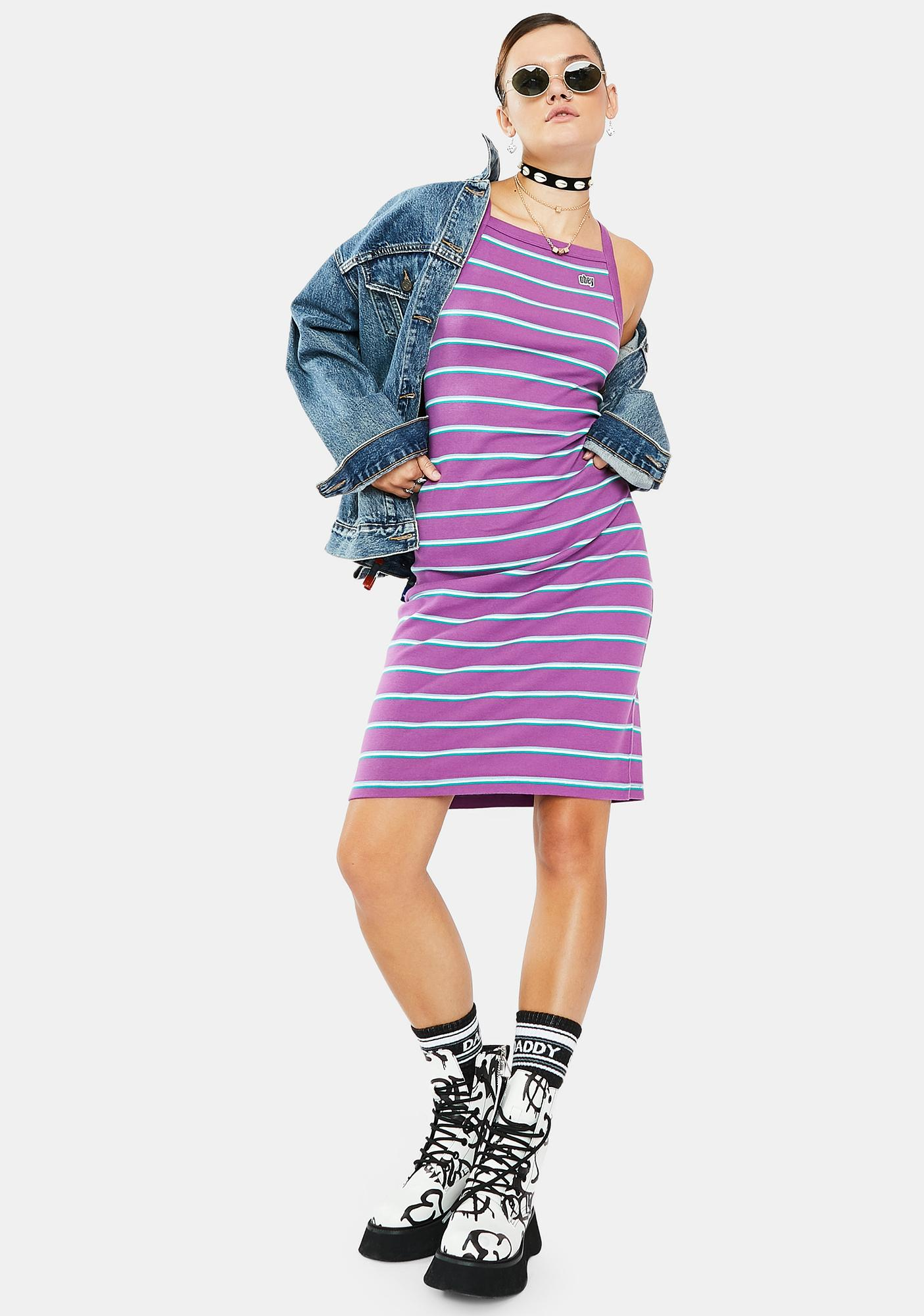 Obey Ernie Striped Tank Dress