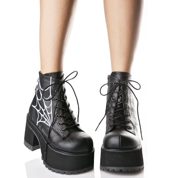 Demonia In Your Spiderwebz Platform Boots