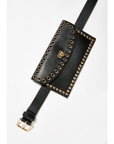 Money Bag Studded Belt Pouch