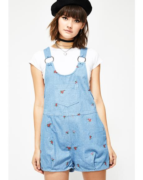 Pretty Lil Posy Denim Shortalls