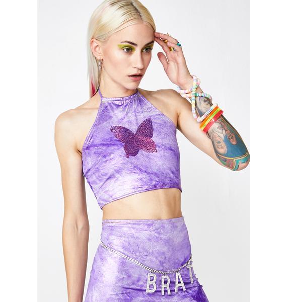 Rheabfunky Lavender Butterfly Halter Top