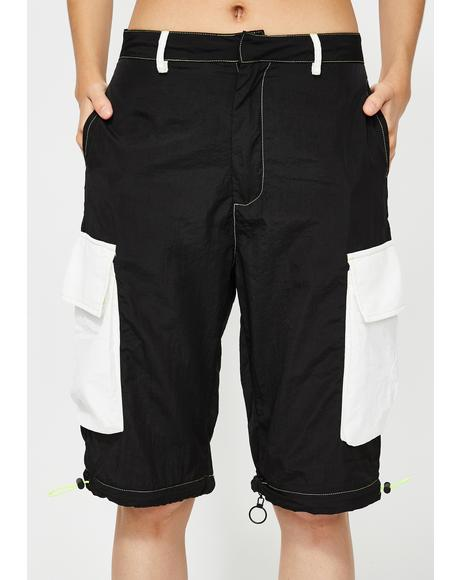 Zip Off Cargo Trousers With Neon Stitching
