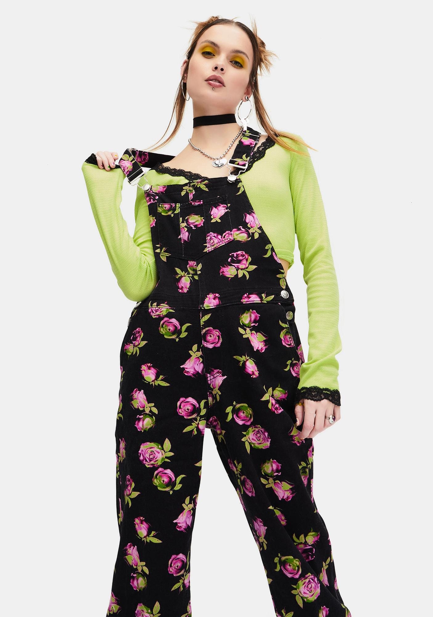 dELiA*s by Dolls Kill Lost In Yesterday Floral Overalls