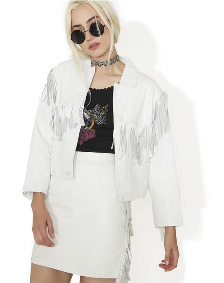 Vintage White Leather Fringe Jacket