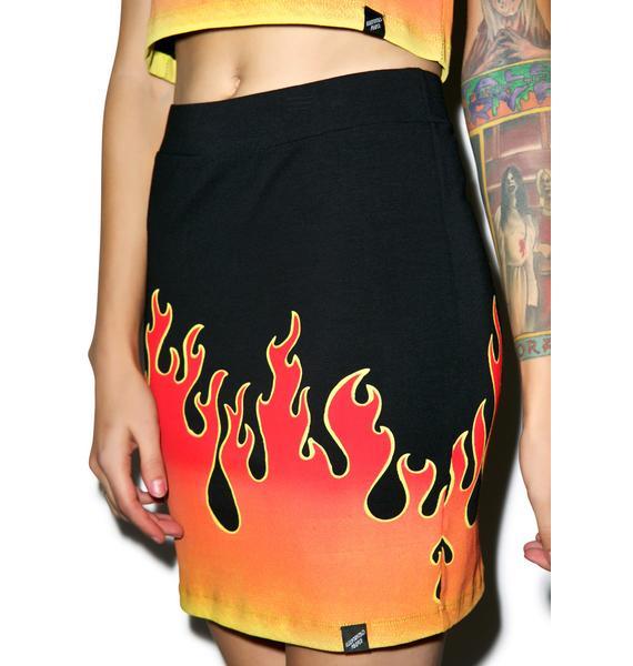 Illustrated People Flames Mini Skirt